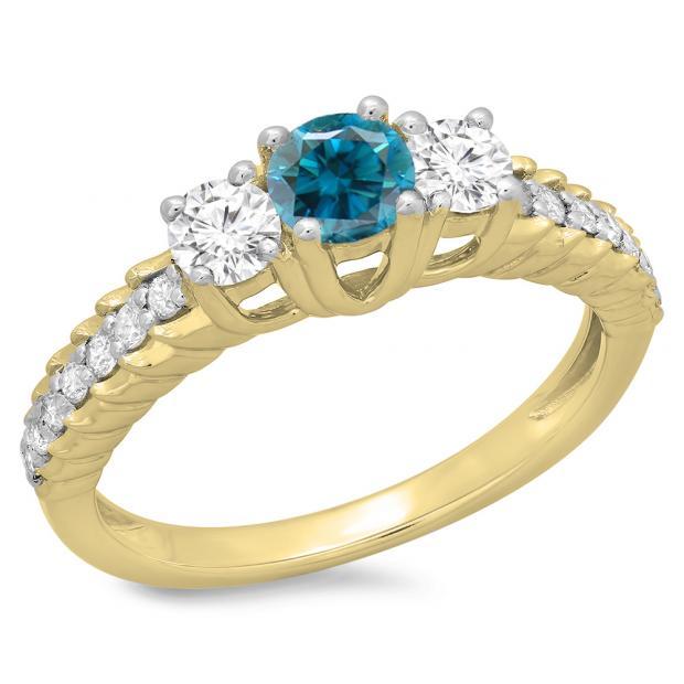 1.00 Carat (ctw) 10K Yellow Gold Round Cut Blue & White Diamond Ladies Bridal 3 Stone Engagement Ring 1 CT