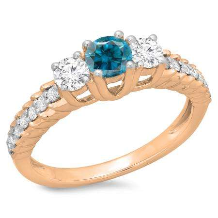 1.00 Carat (ctw) 18K Rose Gold Round Cut Blue & White Diamond Ladies Bridal 3 Stone Engagement Ring 1 CT
