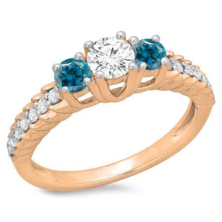 1.00 Carat (ctw) 14K Rose Gold Round Cut Blue & White Diamond Ladies Bridal 3 Stone Engagement Ring 1 CT