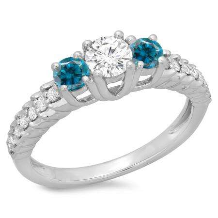 1.00 Carat (ctw) 14K White Gold Round Cut Blue & White Diamond Ladies Bridal 3 Stone Engagement Ring 1 CT