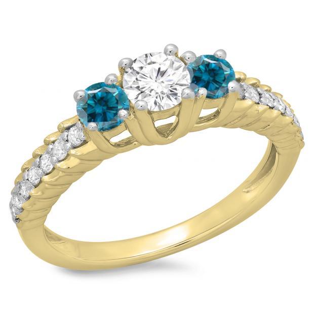 1.00 Carat (ctw) 18K Yellow Gold Round Cut Blue & White Diamond Ladies Bridal 3 Stone Engagement Ring 1 CT