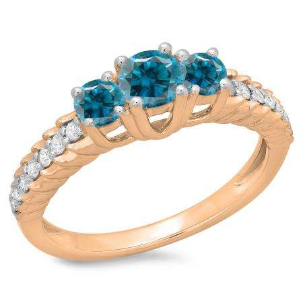 1.00 Carat (ctw) 14K Rose Gold Round Cut Blue & White Diamond Ladies Bridal 3 Stone Engagement Ring 1 CT