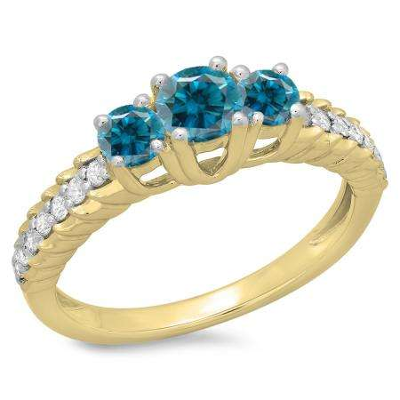 1.00 Carat (ctw) 18K Yellow Gold Round Cut Blue & White Diamond Ladies Bridal 3 Stone Engagement Ring 1 CT