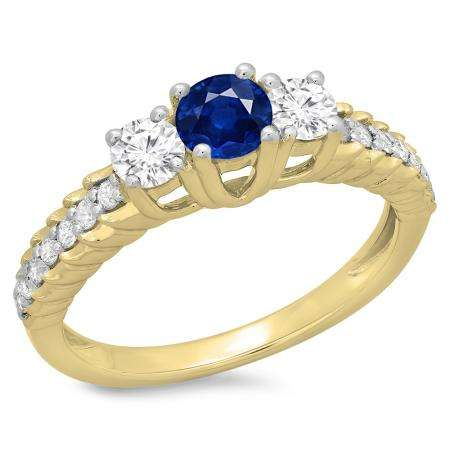 1.00 Carat (ctw) 14K Yellow Gold Round Cut Blue Sapphire & White Diamond Ladies Bridal 3 Stone Engagement Ring 1 CT