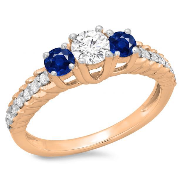1.00 Carat (ctw) 10K Rose Gold Round Cut Blue Sapphire & White Diamond Ladies Bridal 3 Stone Engagement Ring 1 CT