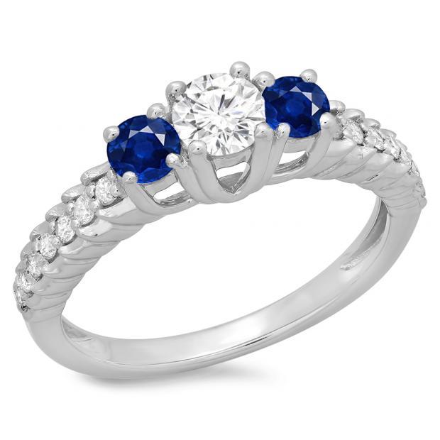 1.00 Carat (ctw) 14K White Gold Round Cut Blue Sapphire & White Diamond Ladies Bridal 3 Stone Engagement Ring 1 CT