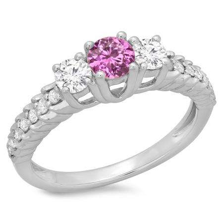 1.00 Carat (ctw) 14K White Gold Round Cut Pink Sapphire & White Diamond Ladies Bridal 3 Stone Engagement Ring 1 CT