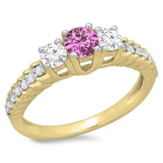 1.00 Carat (ctw) 14K Yellow Gold Round Cut Pink Sapphire & White Diamond Ladies Bridal 3 Stone Engagement Ring 1 CT