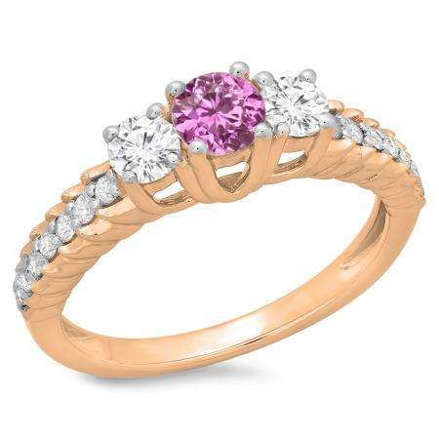 1.00 Carat (ctw) 18K Rose Gold Round Cut Pink Sapphire & White Diamond Ladies Bridal 3 Stone Engagement Ring 1 CT