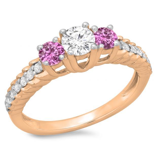 1.00 Carat (ctw) 10K Rose Gold Round Cut Pink Sapphire & White Diamond Ladies Bridal 3 Stone Engagement Ring 1 CT