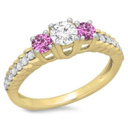1.00 Carat (ctw) 14K Yellow Gold Round Cut Pink Sapphire & White Diamond Ladies Bridal 3 Stone Engagement Ring 1 CT