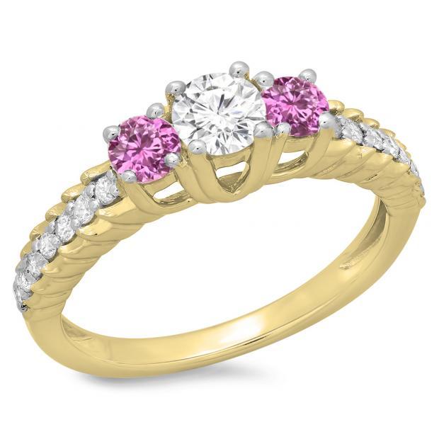 1.00 Carat (ctw) 18K Yellow Gold Round Cut Pink Sapphire & White Diamond Ladies Bridal 3 Stone Engagement Ring 1 CT