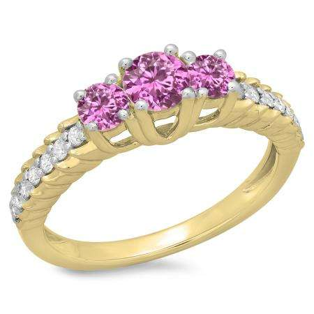 1.00 Carat (ctw) 10K Yellow Gold Round Cut Pink Sapphire & White Diamond Ladies Bridal 3 Stone Engagement Ring 1 CT