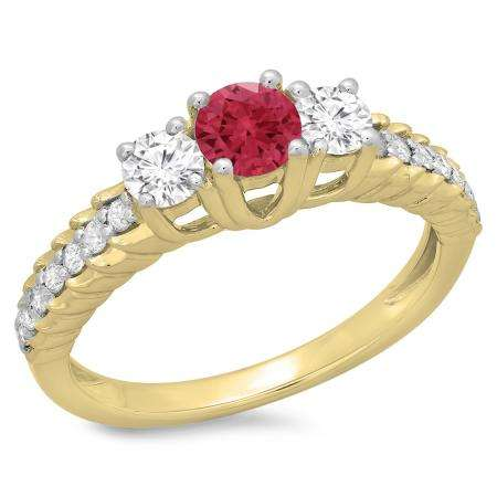 1.00 Carat (ctw) 10K Yellow Gold Round Cut Red Ruby & White Diamond Ladies Bridal 3 Stone Engagement Ring 1 CT