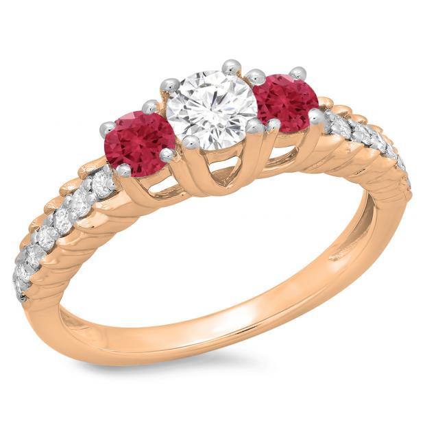 1.00 Carat (ctw) 10K Rose Gold Round Cut Red Ruby & White Diamond Ladies Bridal 3 Stone Engagement Ring 1 CT