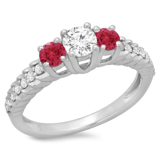 1.00 Carat (ctw) 18K White Gold Round Cut Red Ruby & White Diamond Ladies Bridal 3 Stone Engagement Ring 1 CT