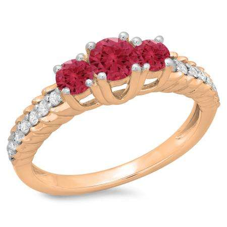 1.00 Carat (ctw) 10K Rose Gold Round Cut Red Ruby & White Diamond Ladies Bridal 3 Stone Engagement Ring 1 CT