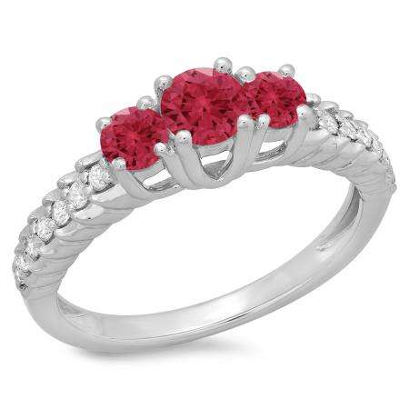 1.00 Carat (ctw) 18K White Gold Round Cut Red Ruby & White Diamond Ladies Bridal 3 Stone Engagement Ring 1 CT