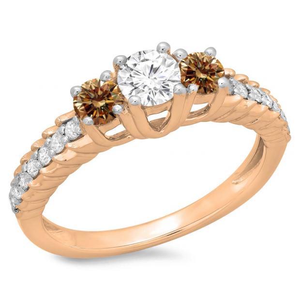 1.00 Carat (ctw) 18K Rose Gold Round Cut Champagne & White Diamond Ladies Bridal 3 Stone Engagement Ring 1 CT