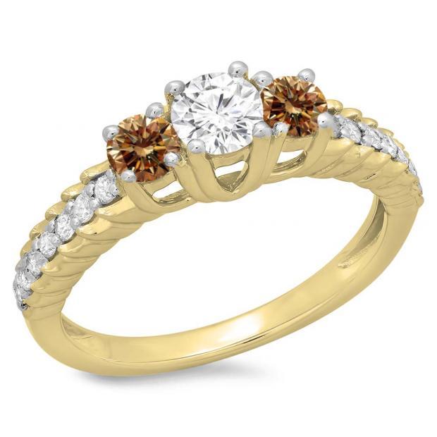1.00 Carat (ctw) 18K Yellow Gold Round Cut Champagne & White Diamond Ladies Bridal 3 Stone Engagement Ring 1 CT