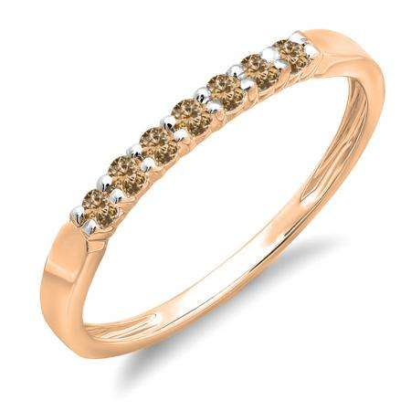 0.25 Carat (ctw) 14K Rose Gold Round Champagne Diamond Ladies 7 Stone Anniversary Wedding Band Stackable Ring 1/4 CT