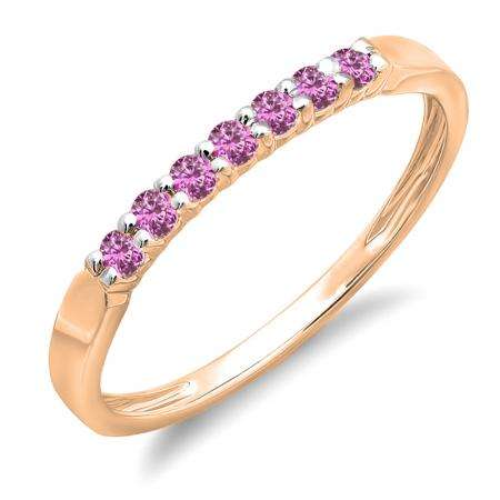 0.25 Carat (ctw) 14K Rose Gold Round Pink Sapphire Ladies 7 Stone Anniversary Wedding Band Stackable Ring 1/4 CT