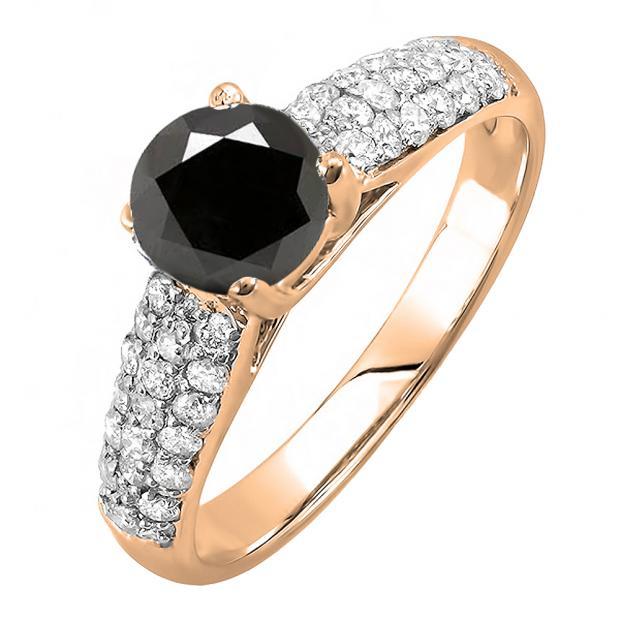 1.22 Carat (ctw) 10K Rose Gold Round Black & White Diamond Pave set Bridal Engagement Ring 0.72 CT center included 1 1/4 CT