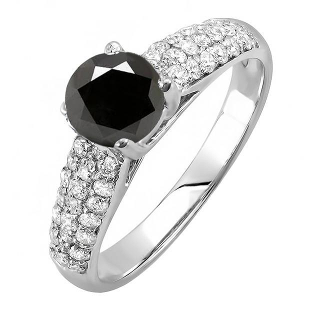1.22 Carat (ctw) 18K White Gold Round Black & White Diamond Pave set Bridal Engagement Ring 0.72 CT center included 1 1/4 CT