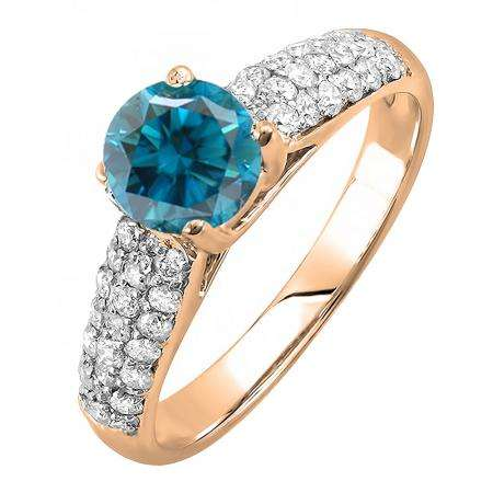1.22 Carat (ctw) 10K Rose Gold Round Blue & White Diamond Pave set Bridal Engagement Ring 0.72 CT center included 1 1/4 CT