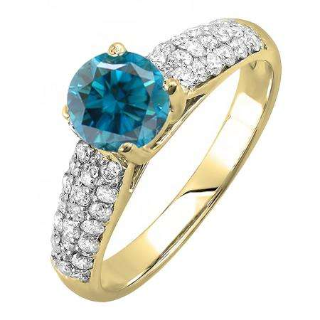 1.22 Carat (ctw) 10K Yellow Gold Round Blue & White Diamond Pave set Bridal Engagement Ring 0.72 CT center included 1 1/4 CT