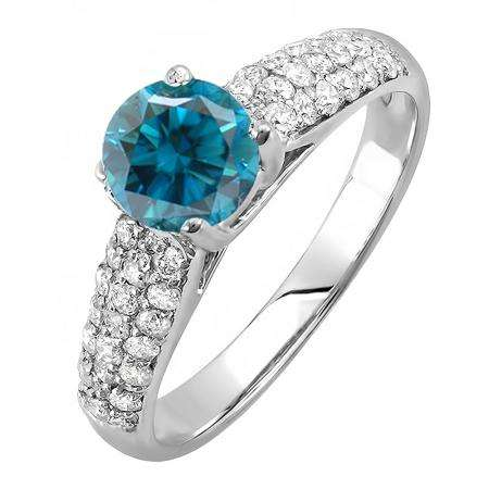 1.22 Carat (ctw) 18K White Gold Round Blue & White Diamond Pave set Bridal Engagement Ring 0.72 CT center included 1 1/4 CT