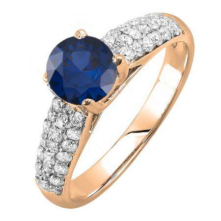 1.22 Carat (ctw) 10K Rose Gold Round Blue Sapphire & White Diamond Pave set Bridal Engagement Ring 0.72 CT center included 1 1/4 CT