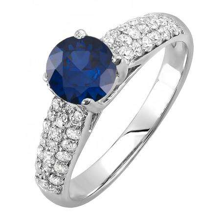 1.22 Carat (ctw) 14K White Gold Round Blue Sapphire & White Diamond Pave set Bridal Engagement Ring 0.72 CT center included 1 1/4 CT