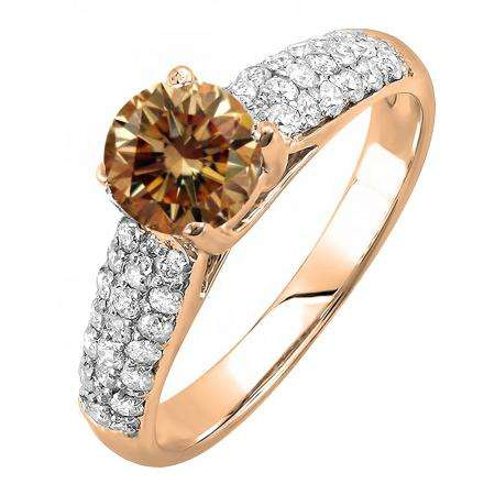 1.22 Carat (ctw) 10K Rose Gold Round Champagne & White Diamond Pave set Bridal Engagement Ring 0.72 CT center included 1 1/4 CT