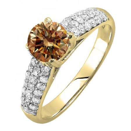 1.22 Carat (ctw) 18K Yellow Gold Round Champagne & White Diamond Pave set Bridal Engagement Ring 0.72 CT center included 1 1/4 CT