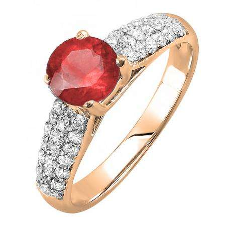 1.22 Carat (ctw) 10K Rose Gold Round Red Ruby & White Diamond Pave set Bridal Engagement Ring 0.72 CT center included 1 1/4 CT