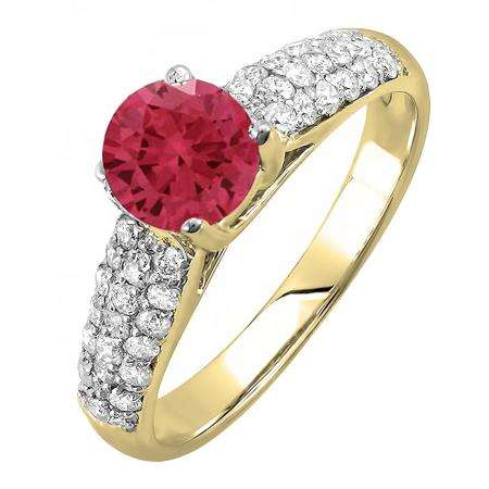 1.22 Carat (ctw) 10K Yellow Gold Round Red Ruby & White Diamond Pave set Bridal Engagement Ring 0.72 CT center included 1 1/4 CT