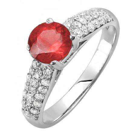 1.22 Carat (ctw) 18K White Gold Round Red Ruby & White Diamond Pave set Bridal Engagement Ring 0.72 CT center included 1 1/4 CT
