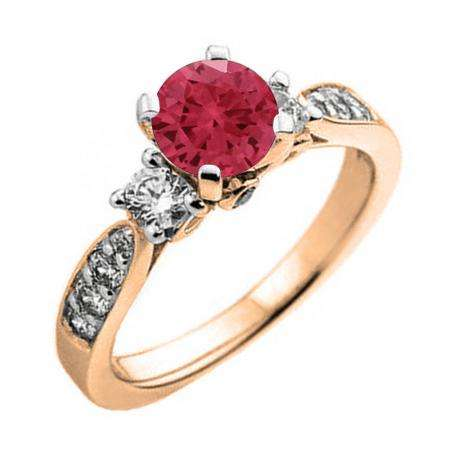 1.00 Carat (ctw) 18K Rose Gold Round Red Ruby & White Diamond Ladies 3 Stone Bridal Engagement Ring 1 CT