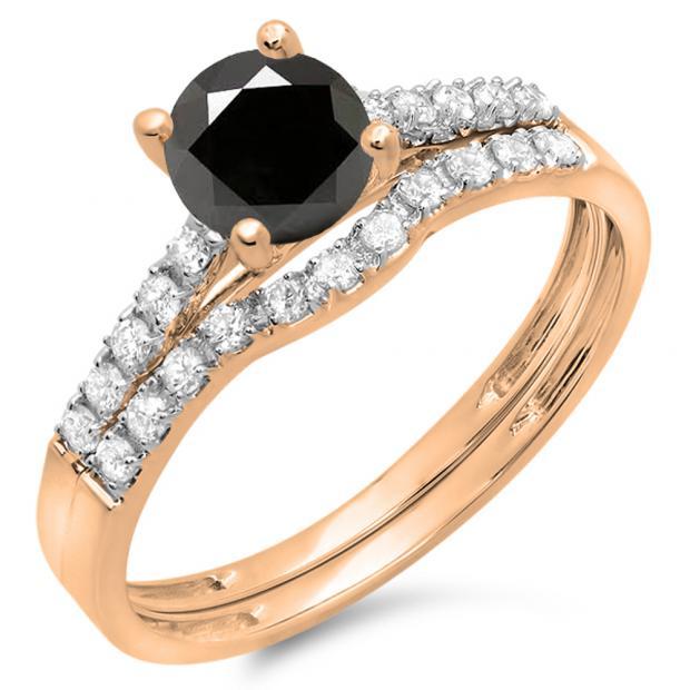 1.25 Carat (ctw) 10K Rose Gold Round White & Black Diamond Ladies Bridal Engagement Ring Matching Band Wedding Sets 1 1/4 CT