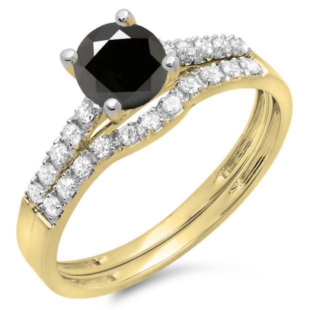 1.25 Carat (ctw) 14K Yellow Gold Round White & Black Diamond Ladies Bridal Engagement Ring Matching Band Wedding Sets 1 1/4 CT