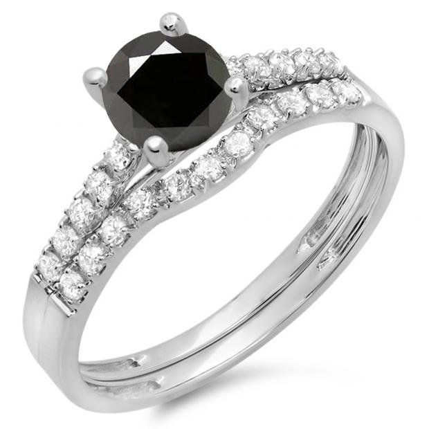 1.25 Carat (ctw) 18K White Gold Round White & Black Diamond Ladies Bridal Engagement Ring Matching Band Wedding Sets 1 1/4 CT