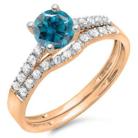 1.25 Carat (ctw) 14K Rose Gold Round White & Blue Diamond Ladies Bridal Engagement Ring Matching Band Wedding Sets 1 1/4 CT