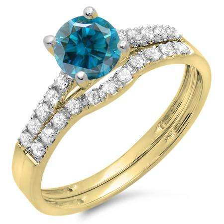 1.25 Carat (ctw) 14K Yellow Gold Round White & Blue Diamond Ladies Bridal Engagement Ring Matching Band Wedding Sets 1 1/4 CT