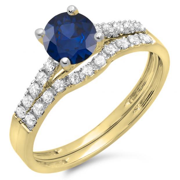 1.25 Carat (ctw) 10K Yellow Gold Round White Diamond & Blue Sapphire Ladies Bridal Engagement Ring Matching Band Wedding Sets 1 1/4 CT