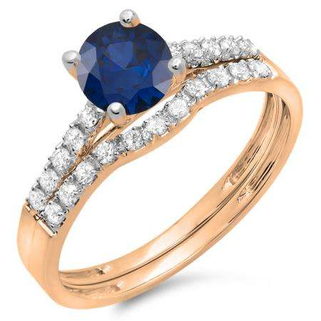 1.25 Carat (ctw) 14K Rose Gold Round White Diamond & Blue Sapphire Ladies Bridal Engagement Ring Matching Band Wedding Sets 1 1/4 CT