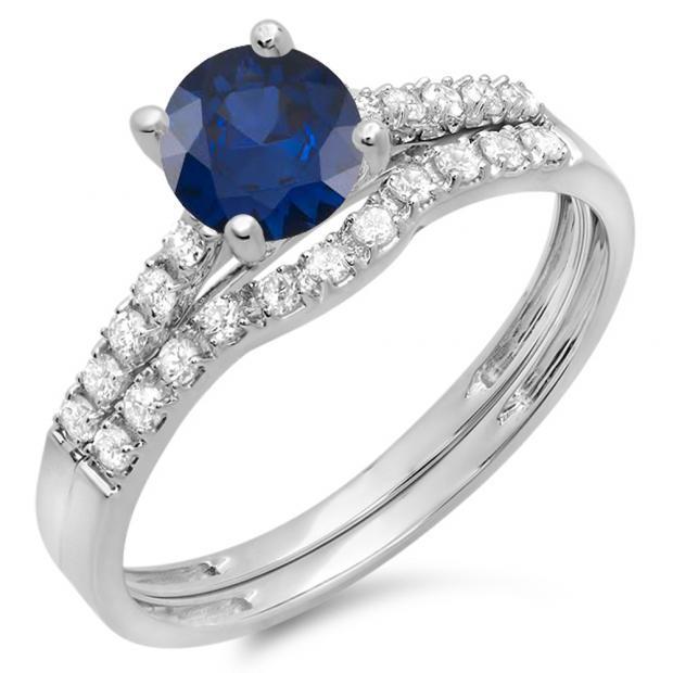 1.25 Carat (ctw) 18K White Gold Round White Diamond & Blue Sapphire Ladies Bridal Engagement Ring Matching Band Wedding Sets 1 1/4 CT