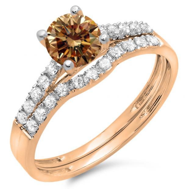 1.25 Carat (ctw) 10K Rose Gold Round White & Champagne Diamond Ladies Bridal Engagement Ring Matching Band Wedding Sets 1 1/4 CT