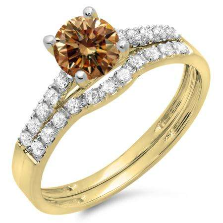 1.25 Carat (ctw) 14K Yellow Gold Round White & Champagne Diamond Ladies Bridal Engagement Ring Matching Band Wedding Sets 1 1/4 CT