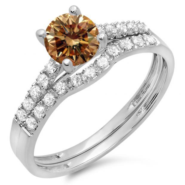 1.25 Carat (ctw) 18K White Gold Round White & Champagne Diamond Ladies Bridal Engagement Ring Matching Band Wedding Sets 1 1/4 CT